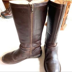 Ugg Tall Leather Boots, Shearling Lined Side Zip 8